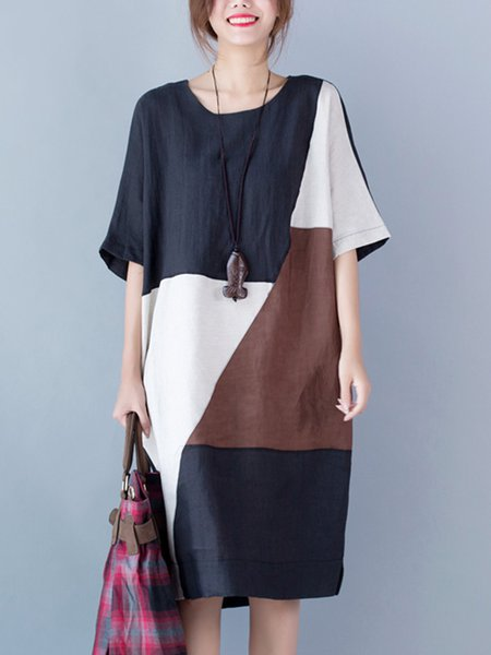 Color-block H-line Short Sleeve Crew Neck Linen Dress