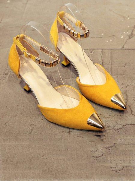 Low Heel Spring/Fall Suede Sequin Heels