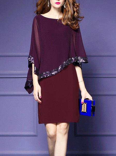 Elegant Sequins Sheath Chiffon Dress
