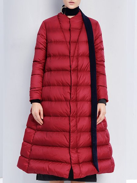 Red Long Sleeve A-line Down Coat