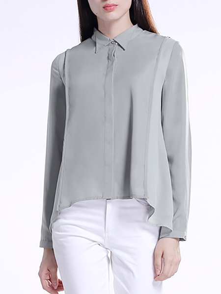 Gray Casual Polyester Asymmetric Blouse