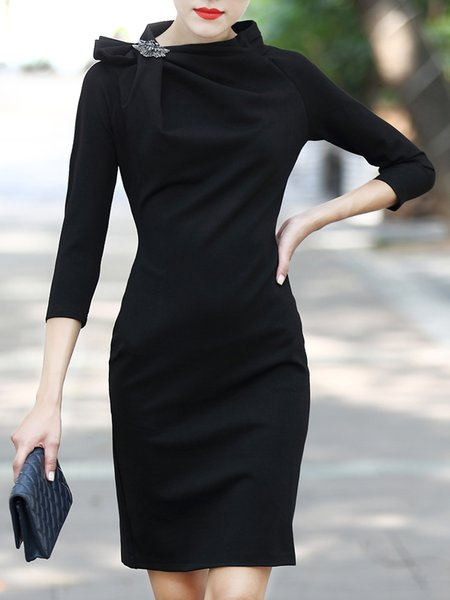 Elegant Stand Collar Gathered 3/4 Sleeve Solid Midi Dress