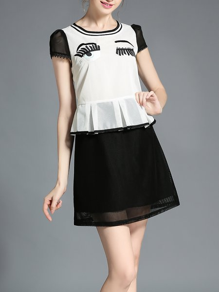 White Paneled Short Sleeve A-line Eye Pattern Mini Dress
