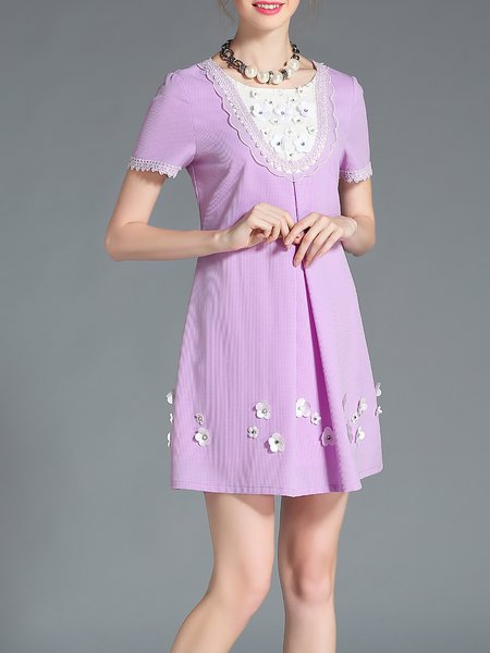 Purple Folds Girly Crew Neck Floral Mini Dress