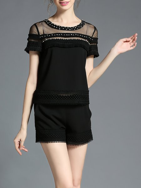 Black Plain Short Sleeve Paneled Chiffon Romper