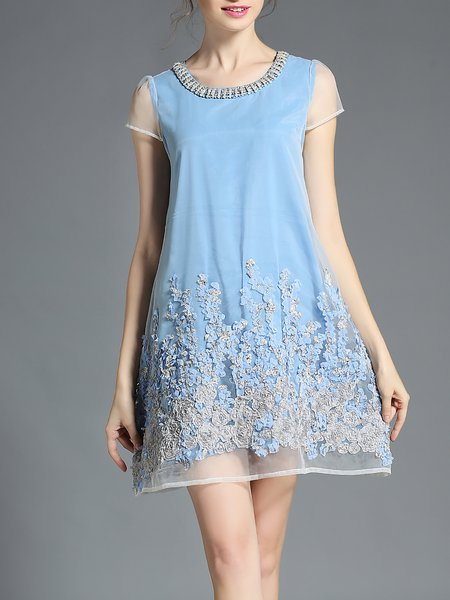 Girly Floral Short Sleeve A-line Crew Neck Mini Dress