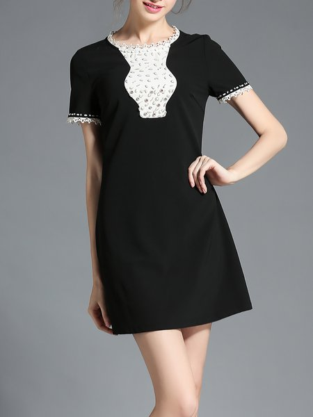 Black Plain Crew Neck Beaded Short Sleeve Mini Dress