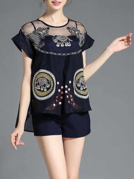 Navy Blue Elephant Pattern Embroidered Three Piece Romper