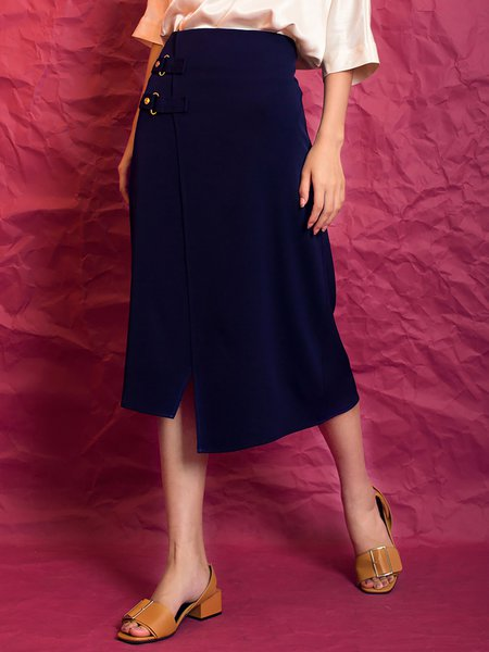 Dark Blue Plain Simple Asymmetrical Slit Midi Skirt