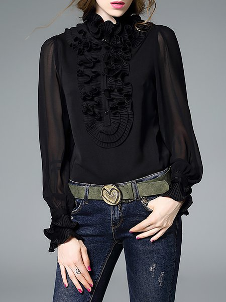 Turtleneck H-line Long Sleeve Casual Ruffled Long Sleeved Silk Plain Top