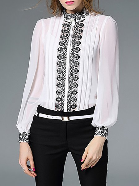 White H-line Long Sleeve Stand Collar Embroidered Two Piece Blouse