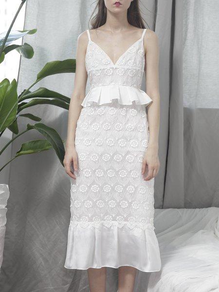 White Guipure Sheath Ruffled Lace Midi Dress