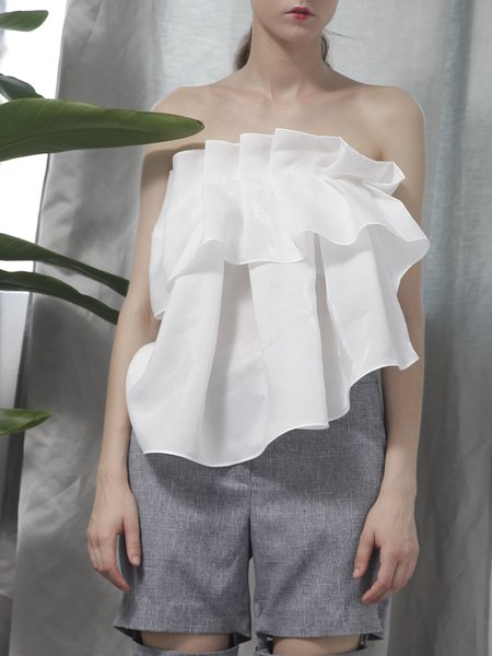 White Strapless Simple Ruffled Folds Blouse