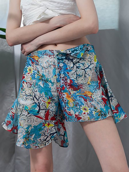 Blue Printed Resort Asymmetric Ruffled Silk Shorts