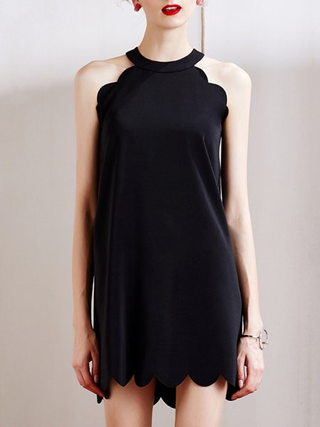 Black A-line Crew Neck Sleeveless Mini Dress
