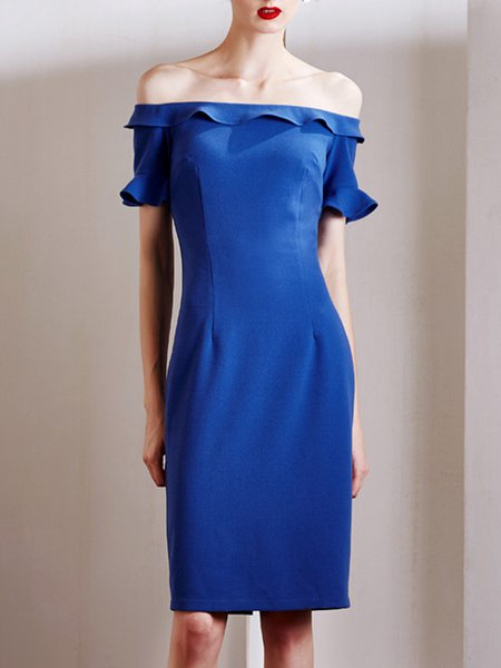 Royal Blue Sheath Vintage Off Shoulder Ruffled Slit Midi Dress