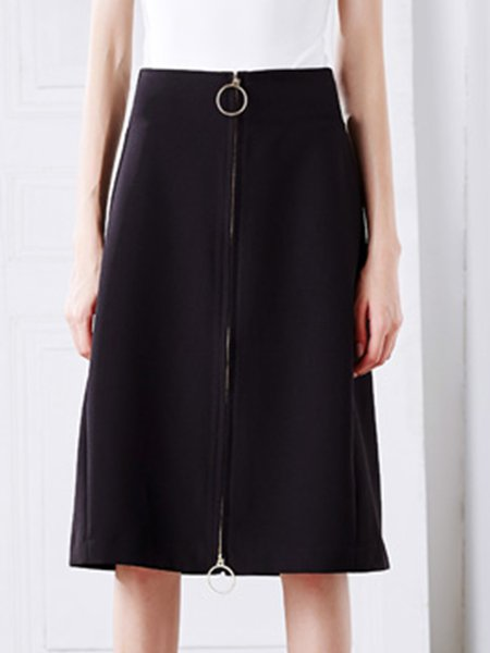 Zipper Vintage A-line Plain Midi Skirt