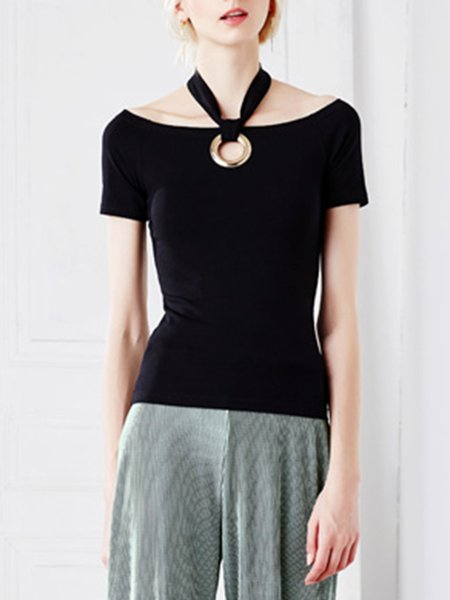 Black Sheath Short Sleeve Short Sleeved Top