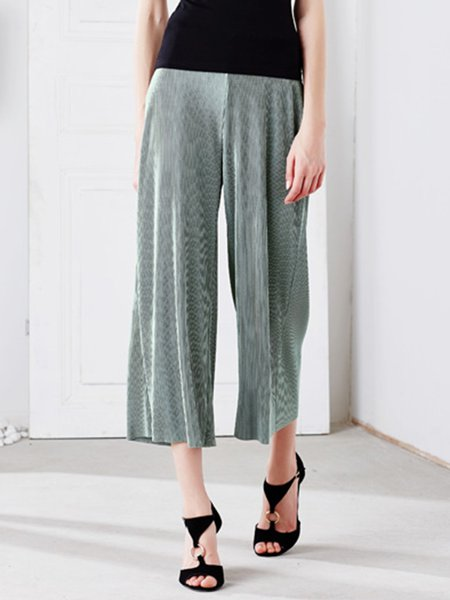 Light Green Ribbed Stripes Polyester Wide Leg Pants