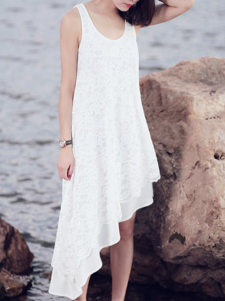 White Floral Sleeveless Guipure Chiffon Midi Dress