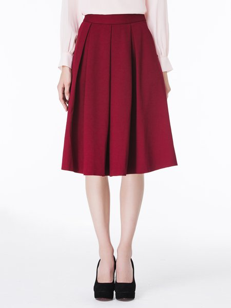 Burgundy Plain Casual A-line Folds Midi Skirt