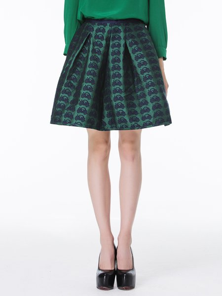 Green Folds Casual Polyester A-line Midi Skirt