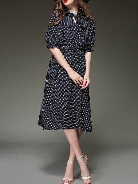 Black Polka Dots Vintage Stand Collar Spandex Midi Dress
