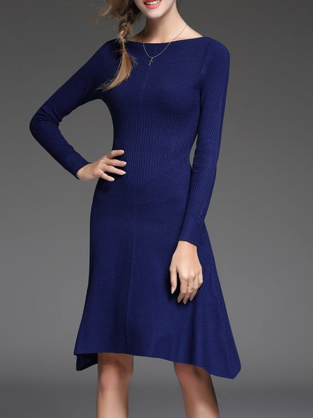 Navy Blue Beaded Long Sleeve Midi Dress