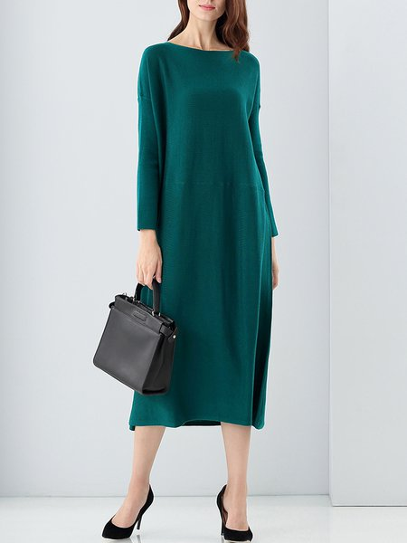 Green Casual Shift Plain Midi Dress