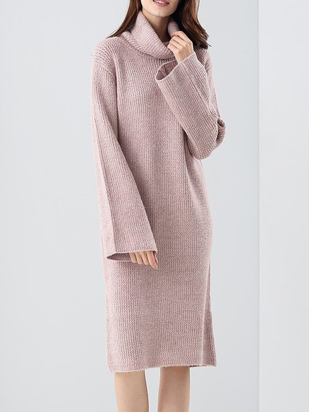 Pink Knitted Turtleneck Casual Sweater Dress
