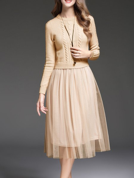A-line Elegant Knitted Plain Midi Dress