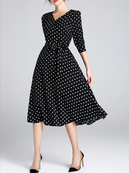 Half Sleeve Printed Casual Polka Dots Midi Dress