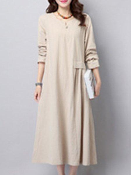Beige Casual Linen Solid Linen Dress