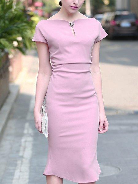 Pink Elegant Zipper Sheath Midi Dress