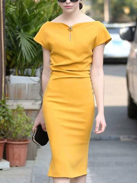Yellow Slit Solid Sheath Elegant Midi Dress