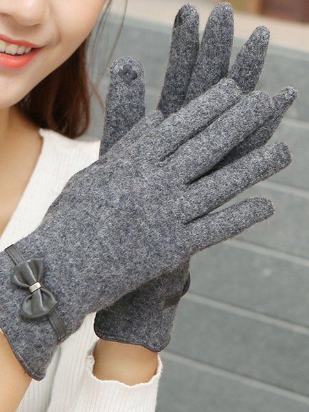 Cotton Solid Casual Gloves