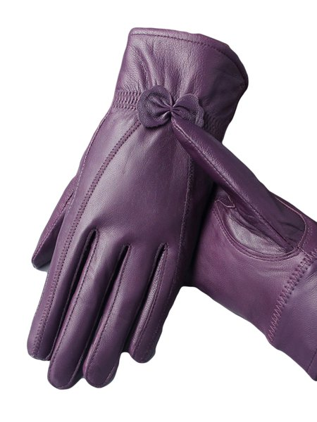 Casual Solid Leather Gloves