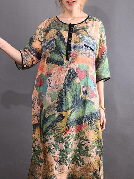 Multicolor Printed 3/4 Sleeve Linen Linen Dress