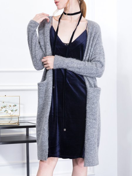 Wool Blend Casual Knitted Plain Cardigan