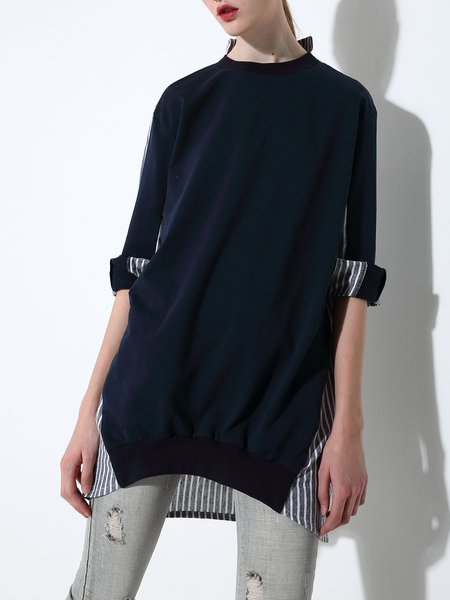 Navy Blue Cotton-blend Long Sleeve Stripes Tunic