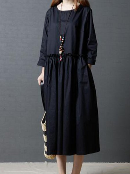 Long Sleeve Solid Gathered Crew Neck Linen Dress