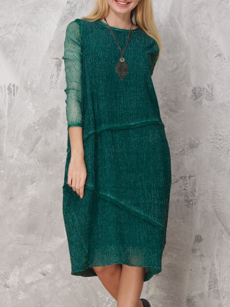 Dark Green Long Sleeve Cotton-blend Cocoon Midi Dress
