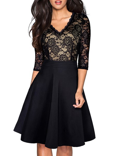 Black Plain 3/4 Sleeve A-line Guipure Lace Midi Dress