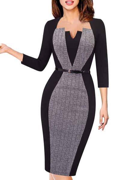 Bodycon Half Sleeve Elegant Paneled Square Neck Midi Dress