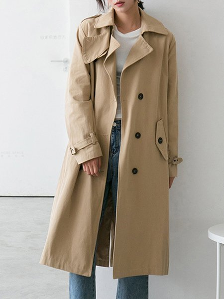 Long Sleeve Casual Cotton Lapel Trench Coat