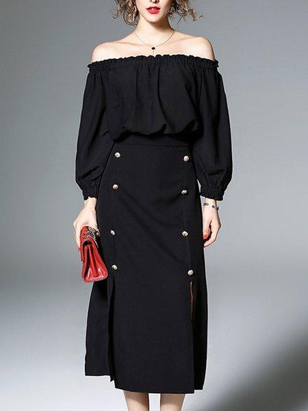 Black Balloon Sleeve Solid A-line Midi Dress