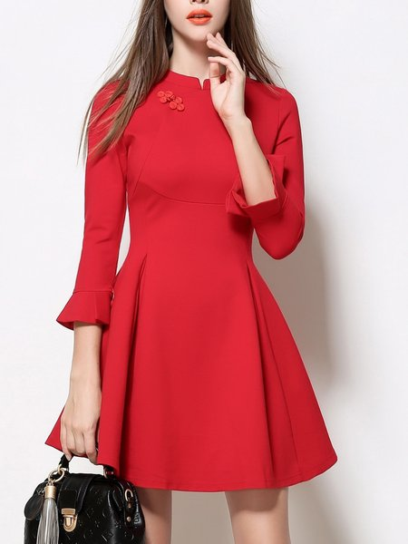 Red Acetate Casual Slit Mini Dress