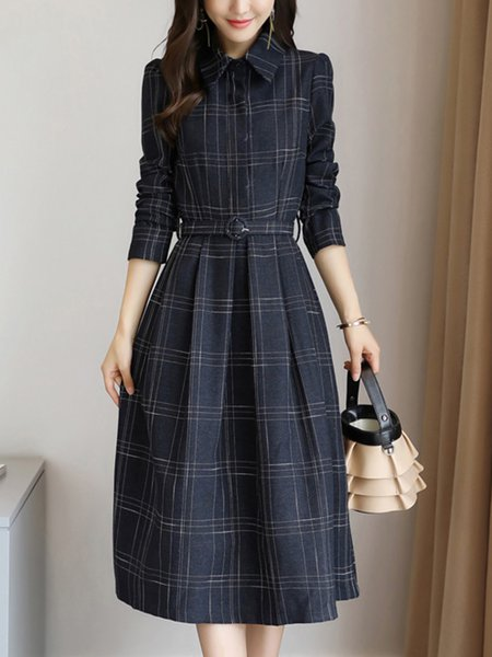Shirt Collar  Midi Dress Daily Acetate Checkered/Plaid Dress