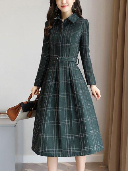 Acetate Shirt Collar Casual Long Sleeve Midi Dress