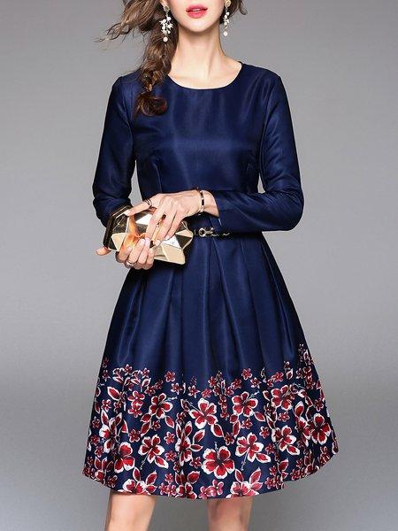Royal Blue Folds Crew Neck Floral Long Sleeve Midi Dress